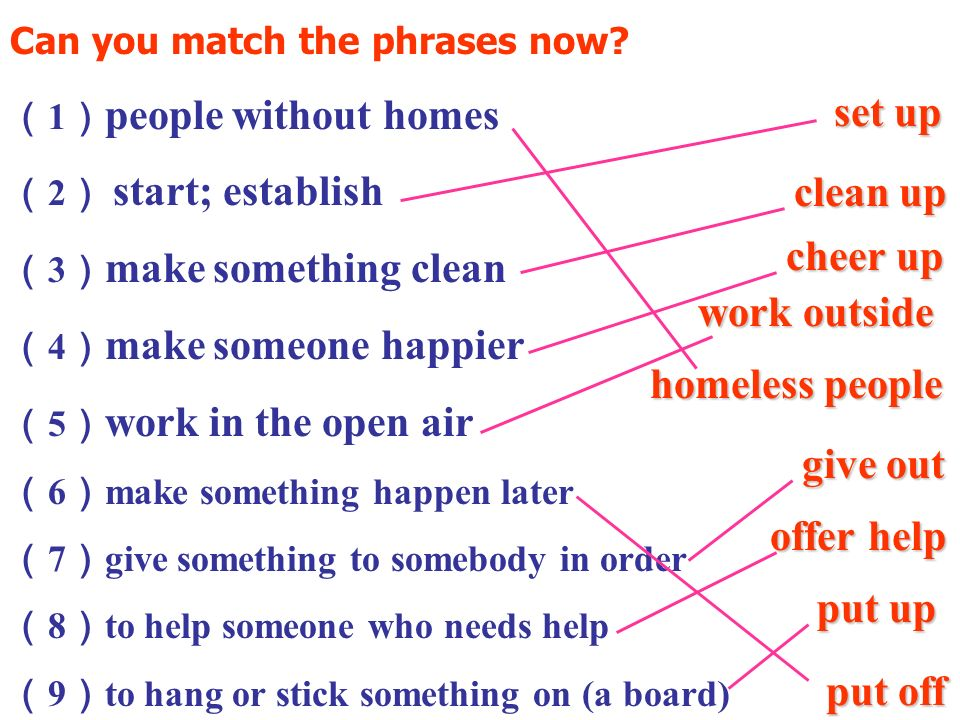 Can you match the phrases now.