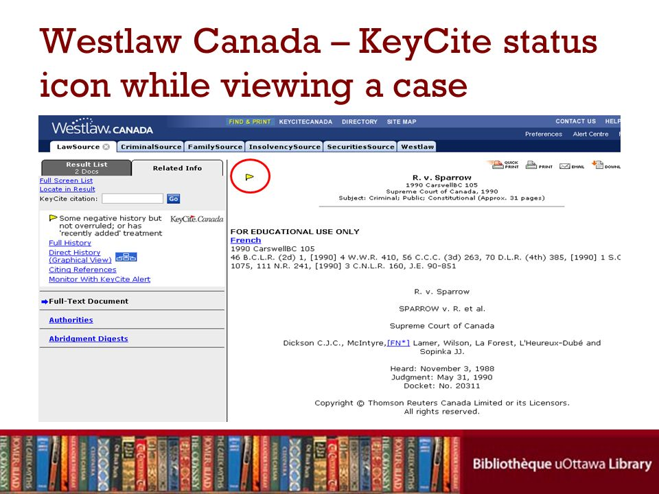 Westlaw Canada – KeyCite status icon while viewing a case