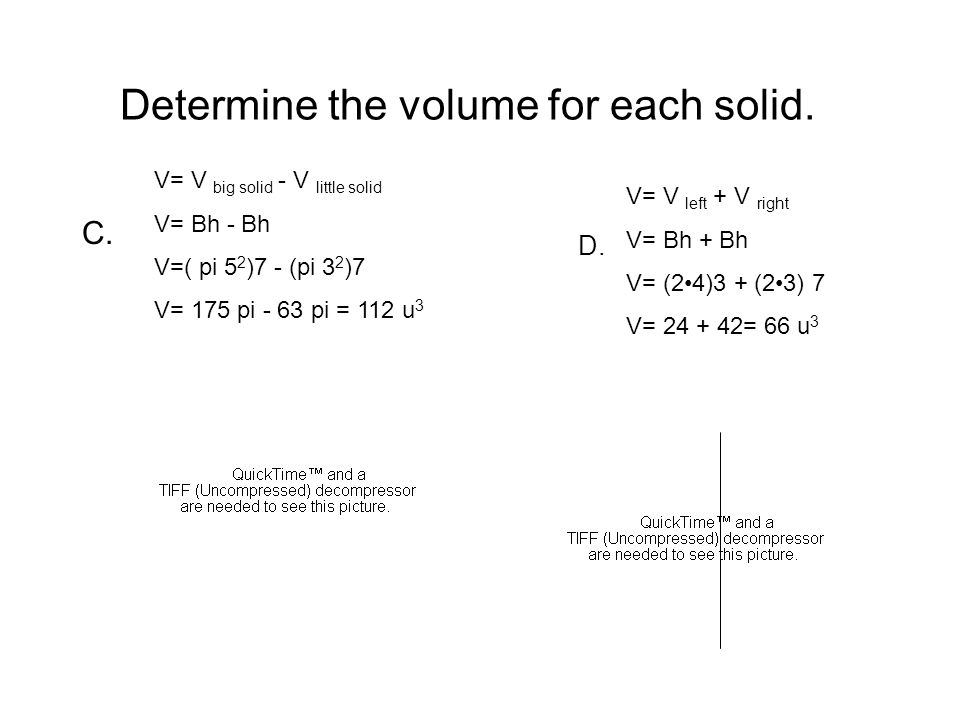 Determine the volume for each solid. C. D.