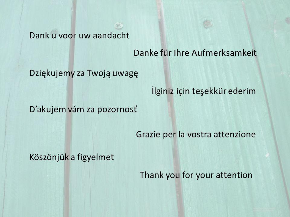 Thank you for your attention Danke für Ihre Aufmerksamkeit Dziękujemy za Twoją uwagę Dank u voor uw aandacht Grazie per la vostra attenzione Dakujem vám za pozornosť İlginiz için teşekkür ederim Köszönjük a figyelmet