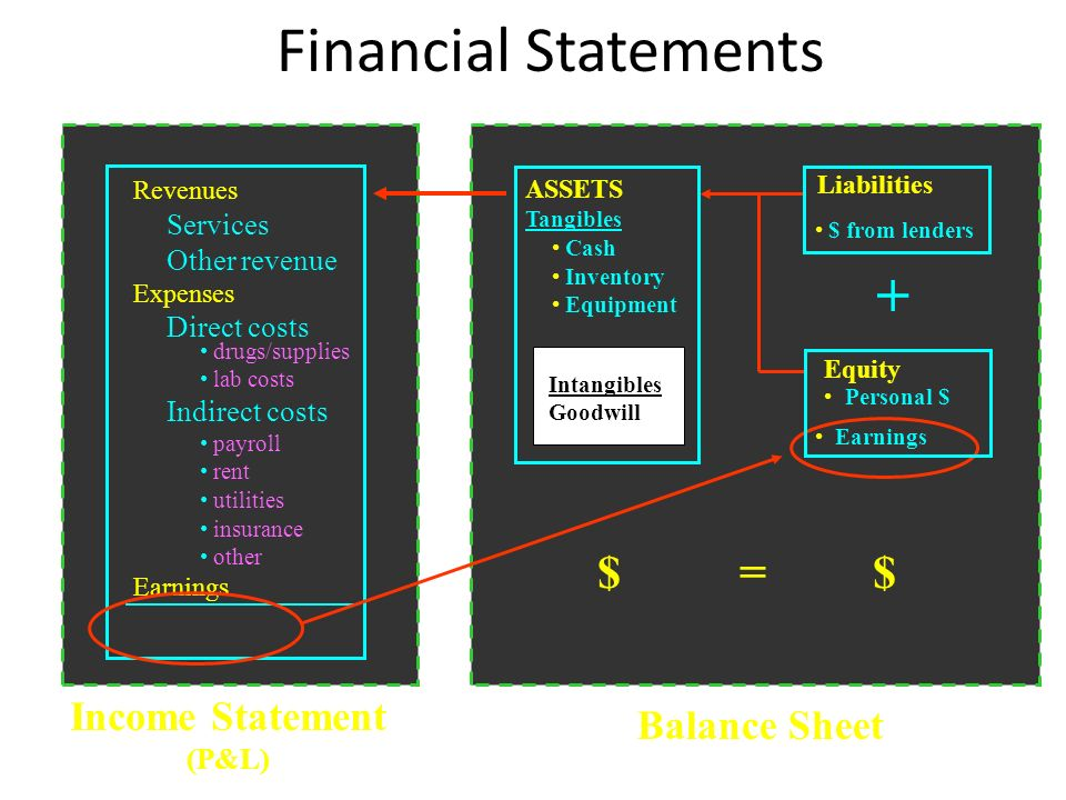 Balance Sheet Income Statement (P&L) Financial Statements + Personal $ $ from lenders Revenues Services Other revenue Expenses Direct costs drugs/supp