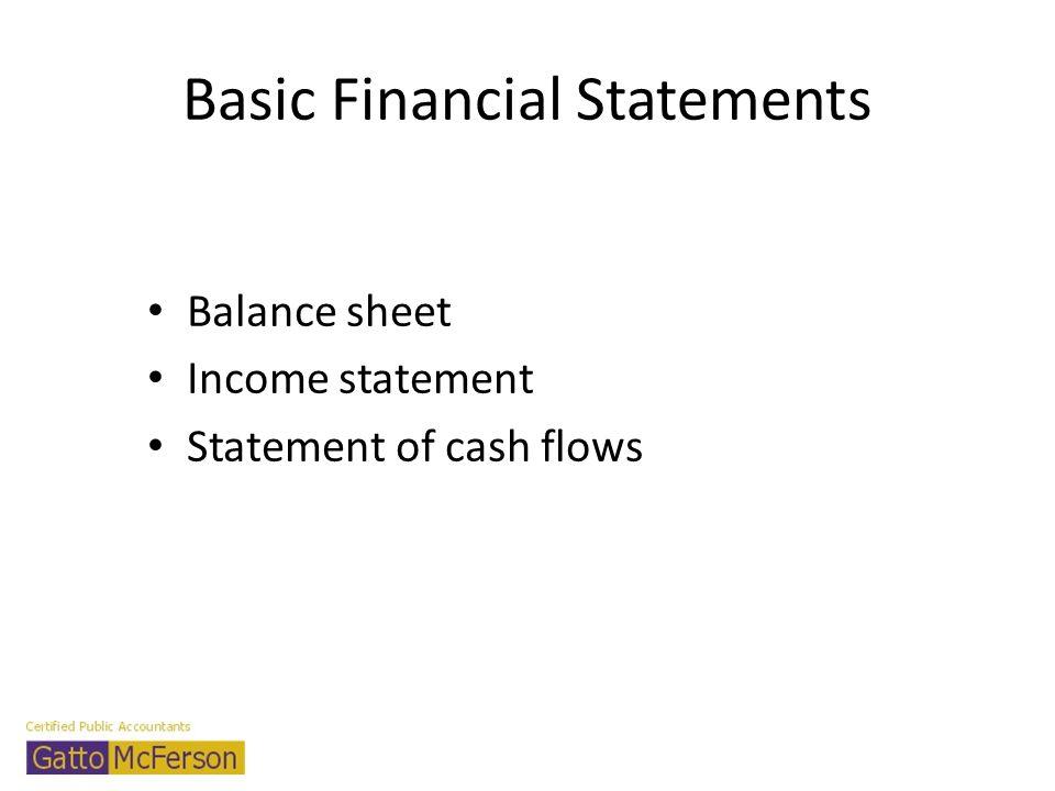 Basic Financial Statements Balance sheet Income statement Statement of cash flows