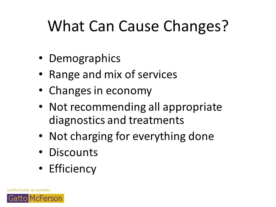 What Can Cause Changes? Demographics Range and mix of services Changes in economy Not recommending all appropriate diagnostics and treatments Not char