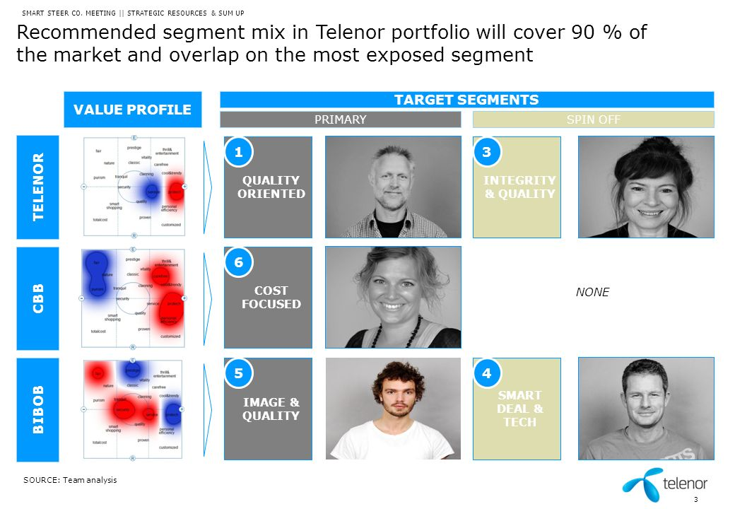 Recommended segment mix in Telenor portfolio will cover 90 % of the market and overlap on the most exposed segment SMART STEER CO. MEETING || STRATEGI