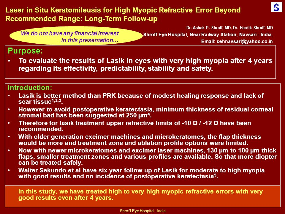 Laser in Situ Keratomileusis for High Myopic Refractive Error Beyond Recommended Range: Long-Term Follow-up Dr.