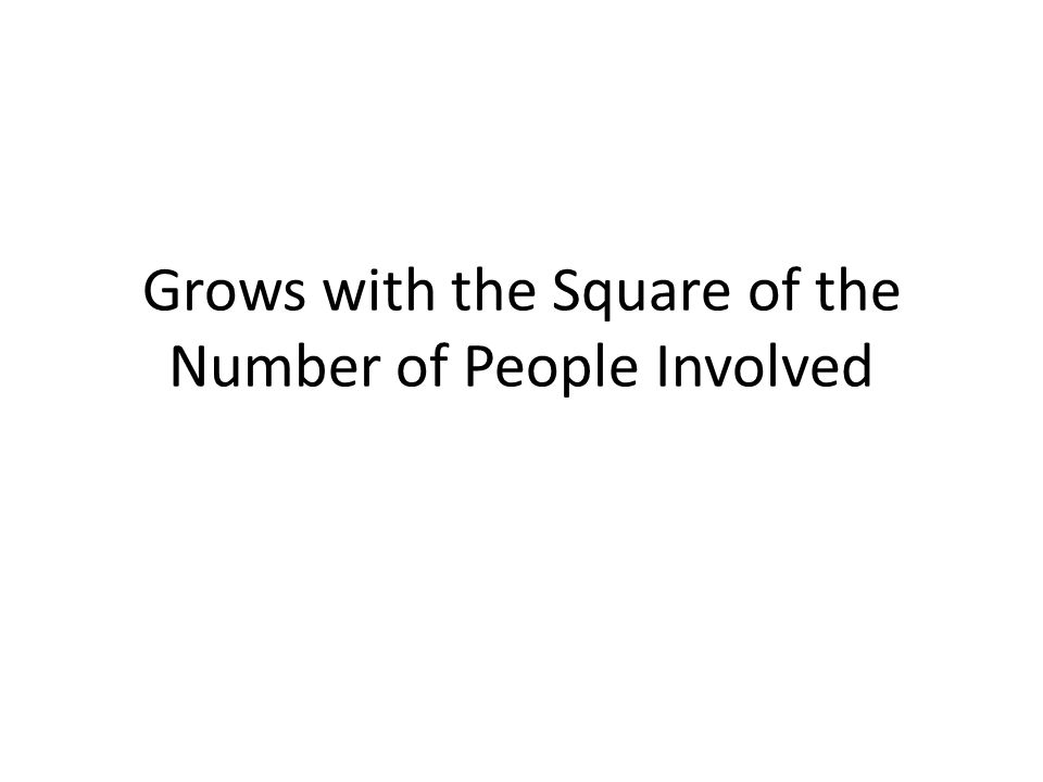 Grows with the Square of the Number of People Involved