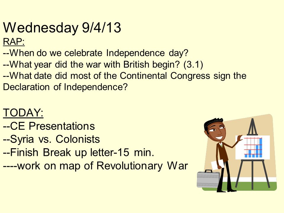Wednesday 9/4/13 RAP: --When do we celebrate Independence day? --What year did the war with British begin? (3.1) --What date did most of the Continent