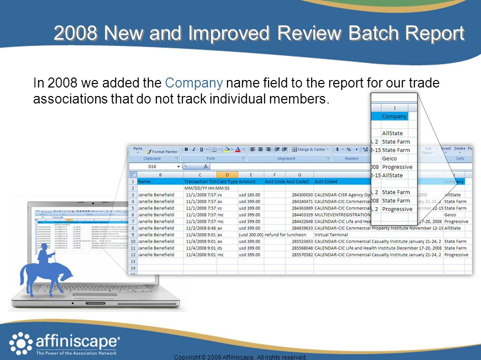 2008 New and Improved Review Batch Report Copyright © 2008 Affiniscape.