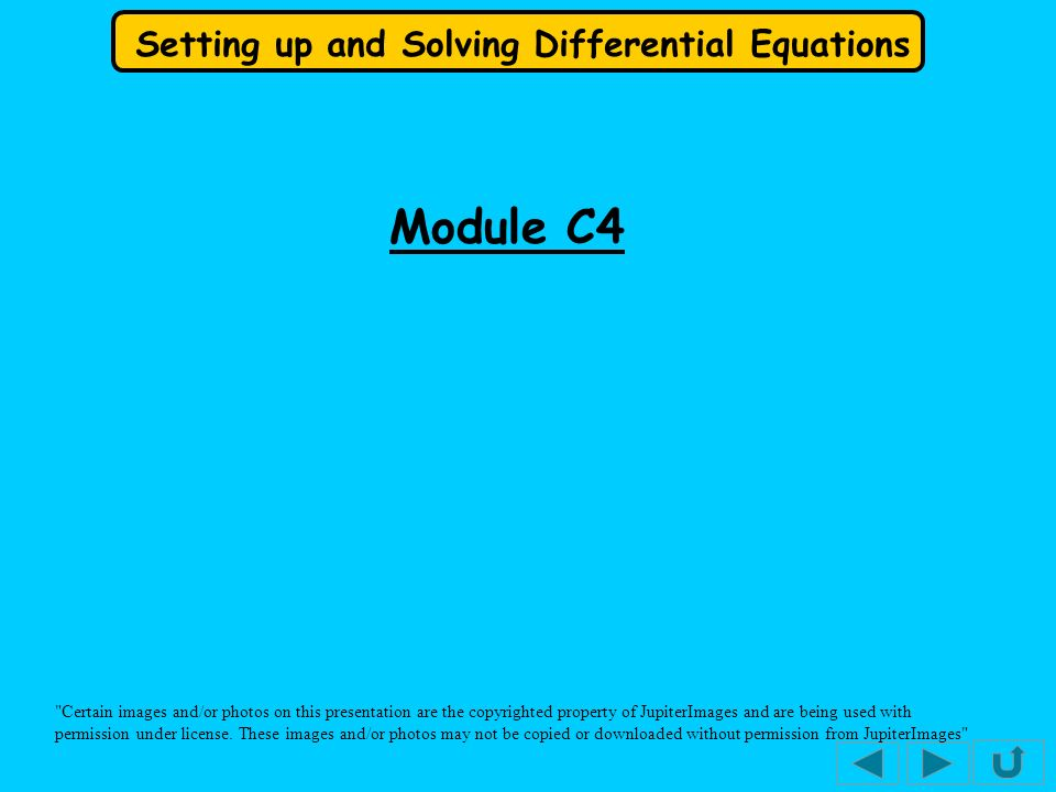 Setting up and Solving Differential Equations We have seen how to solve differential equations by the method of separating the variables.