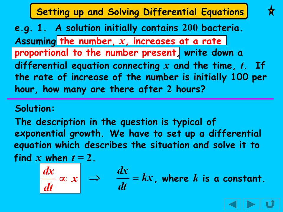 Setting up and Solving Differential Equations e.g.