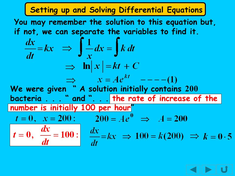 Setting up and Solving Differential Equations You might meet differential equations that do not describe growth functions.