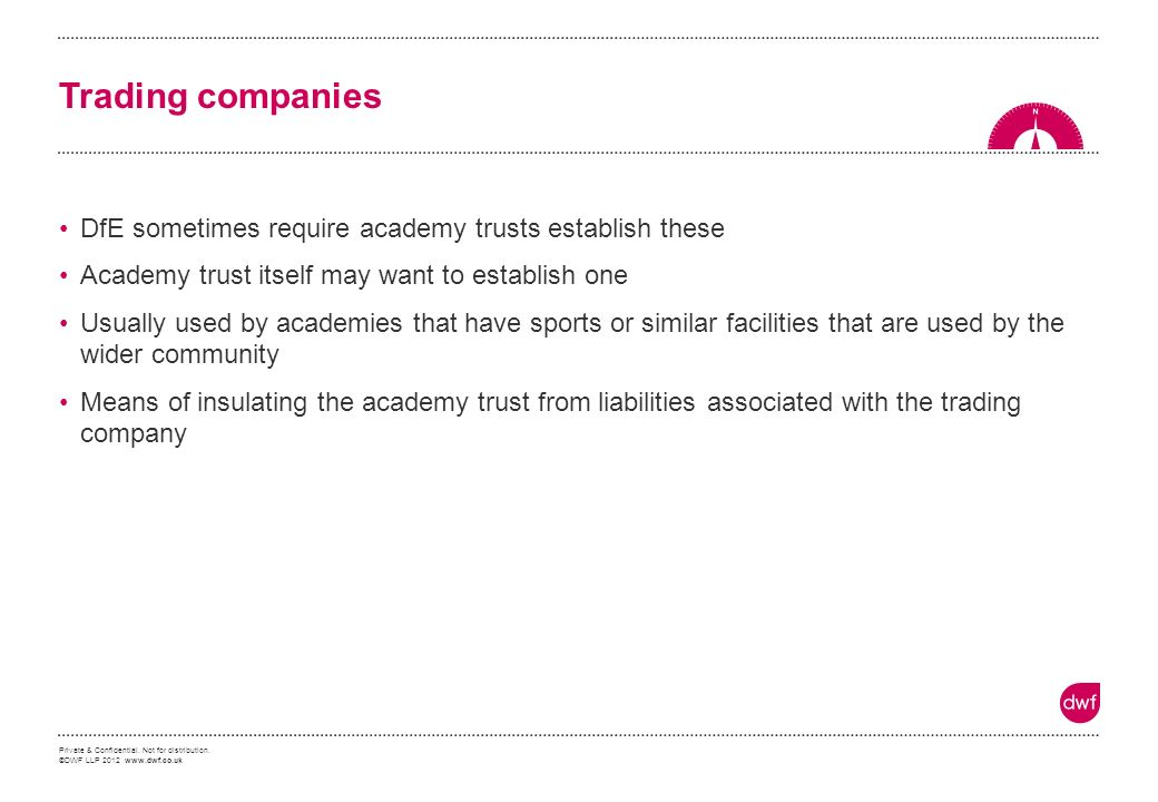 Private & Confidential. Not for distribution. ©DWF LLP 2012 www.dwf.co.uk Trading companies DfE sometimes require academy trusts establish these Acade