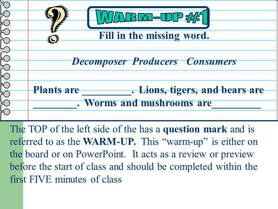 The TOP of the left side of the has a question mark and is referred to as the WARM-UP. This warm-up is either on the board or on PowerPoint. It acts a