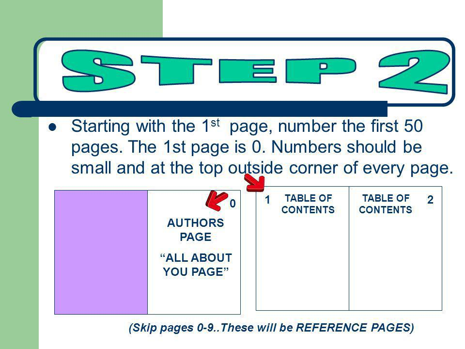 Starting with the 1 st page, number the first 50 pages. The 1st page is 0. Numbers should be small and at the top outside corner of every page. 2 (Ski