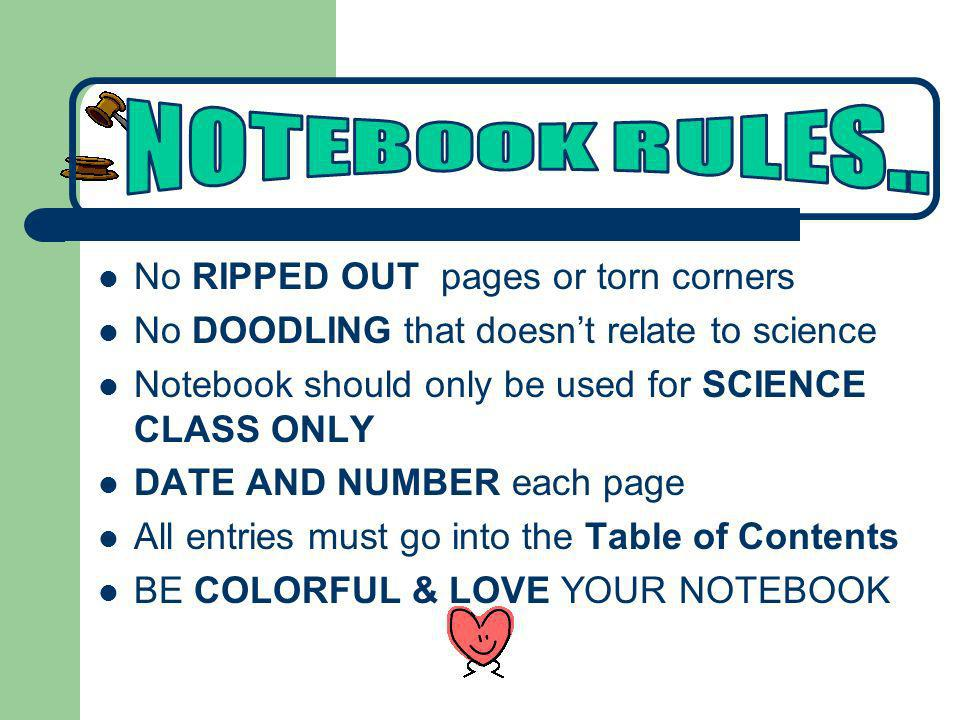 No RIPPED OUT pages or torn corners No DOODLING that doesnt relate to science Notebook should only be used for SCIENCE CLASS ONLY DATE AND NUMBER each