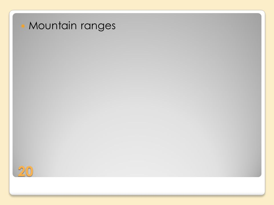 20 Mountain ranges