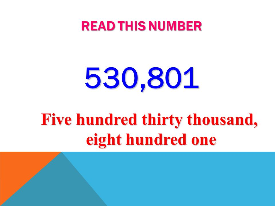 READ THIS NUMBER 54,931 Fifty-four thousand, nine hundred thirty-one