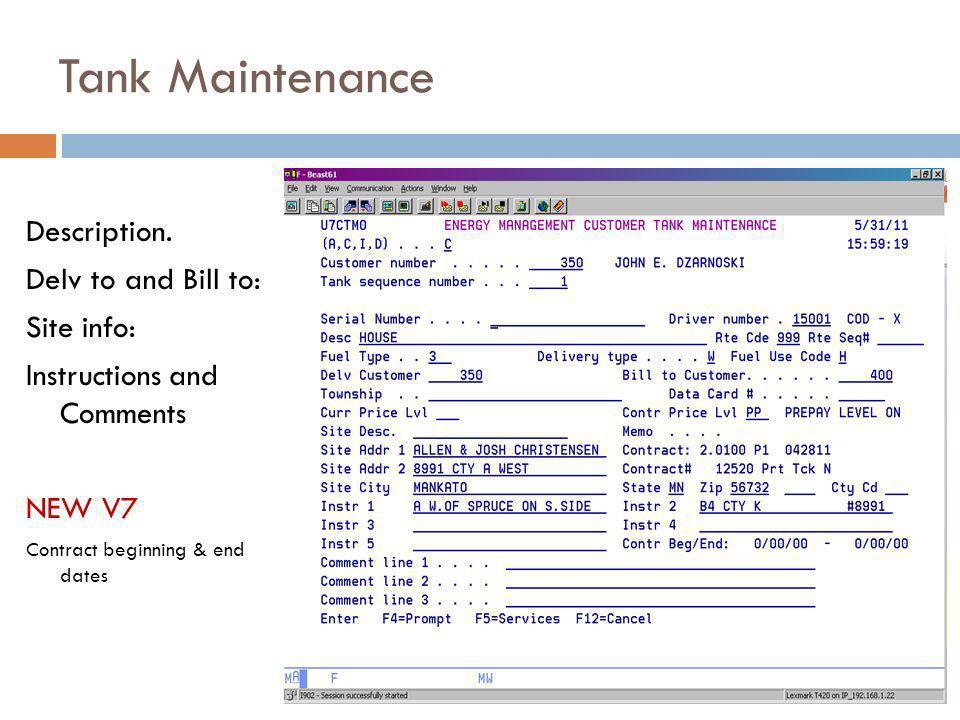 Tank Maintenance Description.