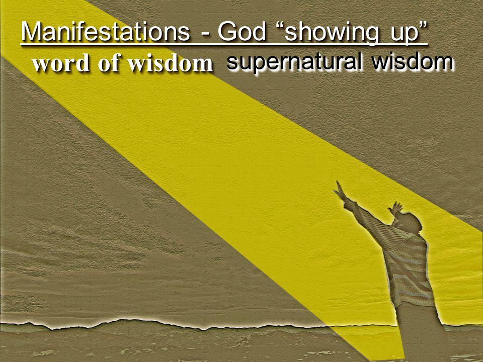 Manifestations - God showing up word of wisdom supernatural wisdom
