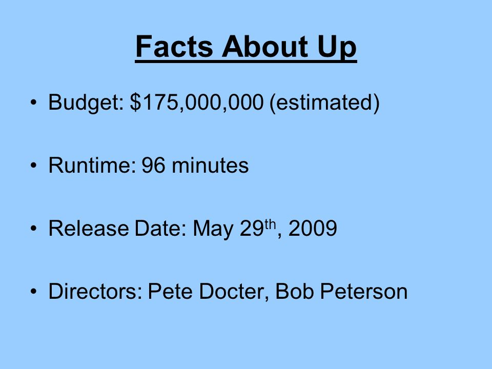 Facts About Up Budget: $175,000,000 (estimated) Runtime: 96 minutes Release Date: May 29 th, 2009 Directors: Pete Docter, Bob Peterson