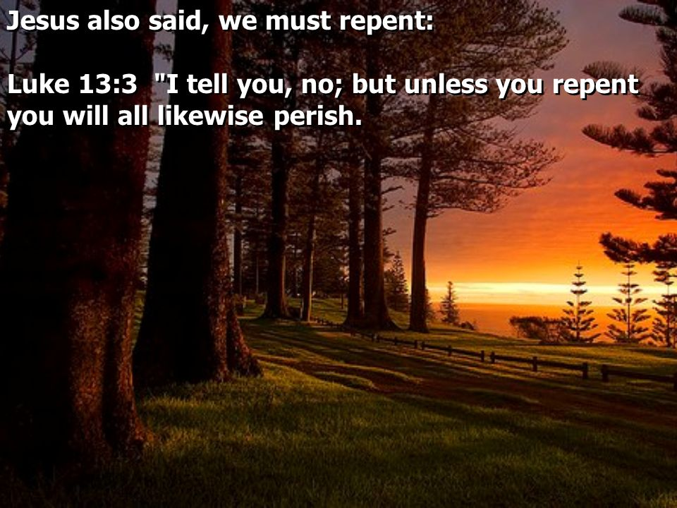 Jesus also said, we must repent: Luke 13:3 I tell you, no; but unless you repent you will all likewise perish.