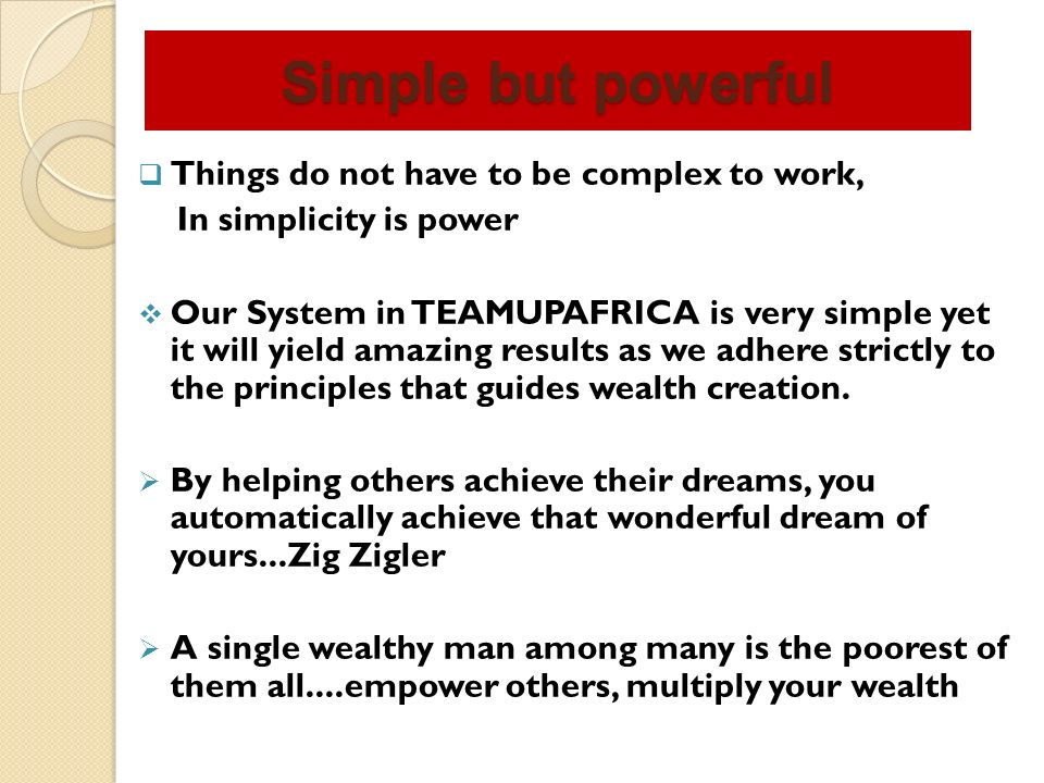 1- Be FOCUS and continue to sell 2 – Very good understanding of the benefits of the system 3 –A ready mind to teach and better the life of others 4 – NEVER GIVE UP ATTITUDE What you need to succeed in teamupafrica AFFILIATE NETWORKING OPPORTUNITY