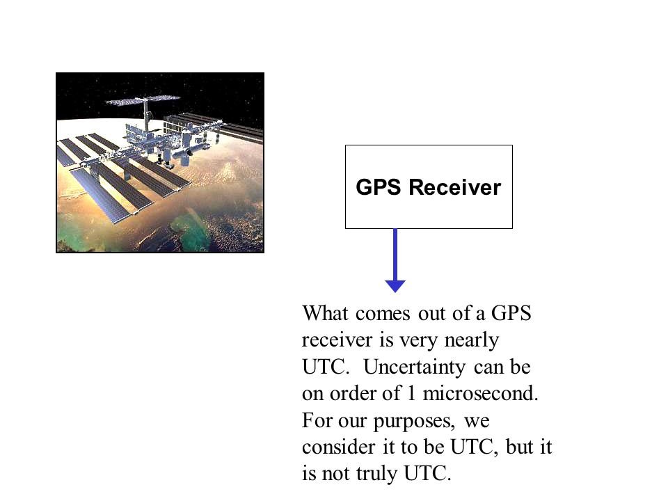 GPS Receiver What comes out of a GPS receiver is very nearly UTC.