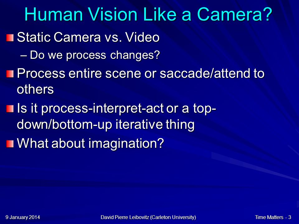 9 January 20149 January 20149 January 2014David Pierre Leibovitz (Carleton University)Time Matters - 4 Vision Movies @ 24hz (42ms/frame) –But flicker at higher rates.