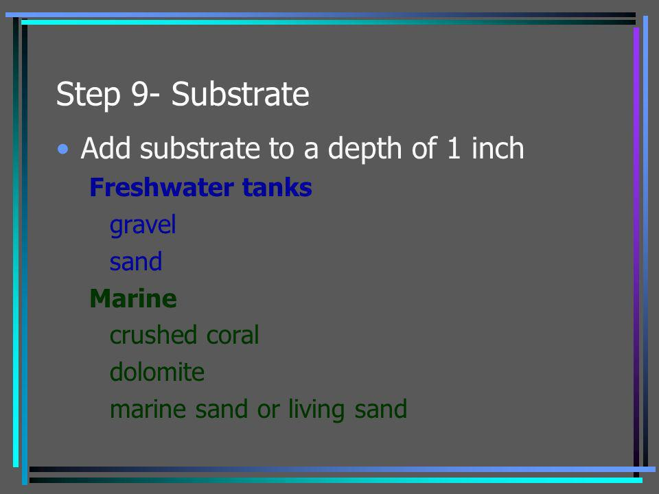 Step 9- Substrate Add substrate to a depth of 1 inch Freshwater tanks gravel sand Marine crushed coral dolomite marine sand or living sand