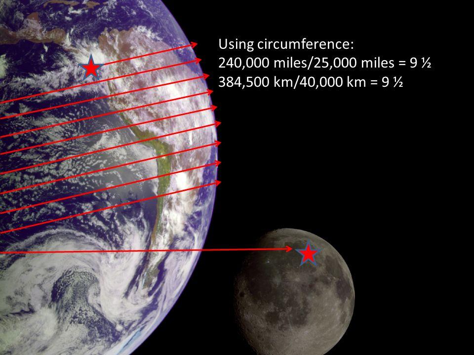 Using circumference: 240,000 miles/25,000 miles = 9 ½ 384,500 km/40,000 km = 9 ½