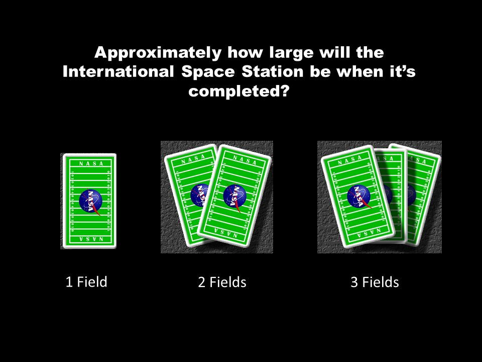 Approximately how large will the International Space Station be when its completed? 1 Field 2 Fields3 Fields