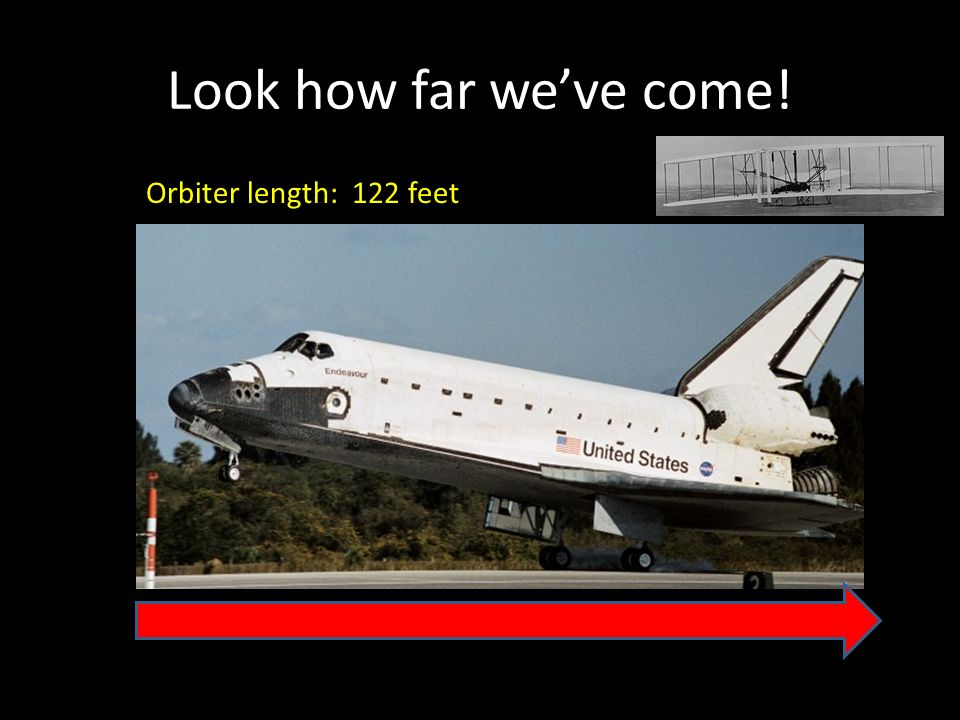Look how far weve come! Orbiter length: 122 feet