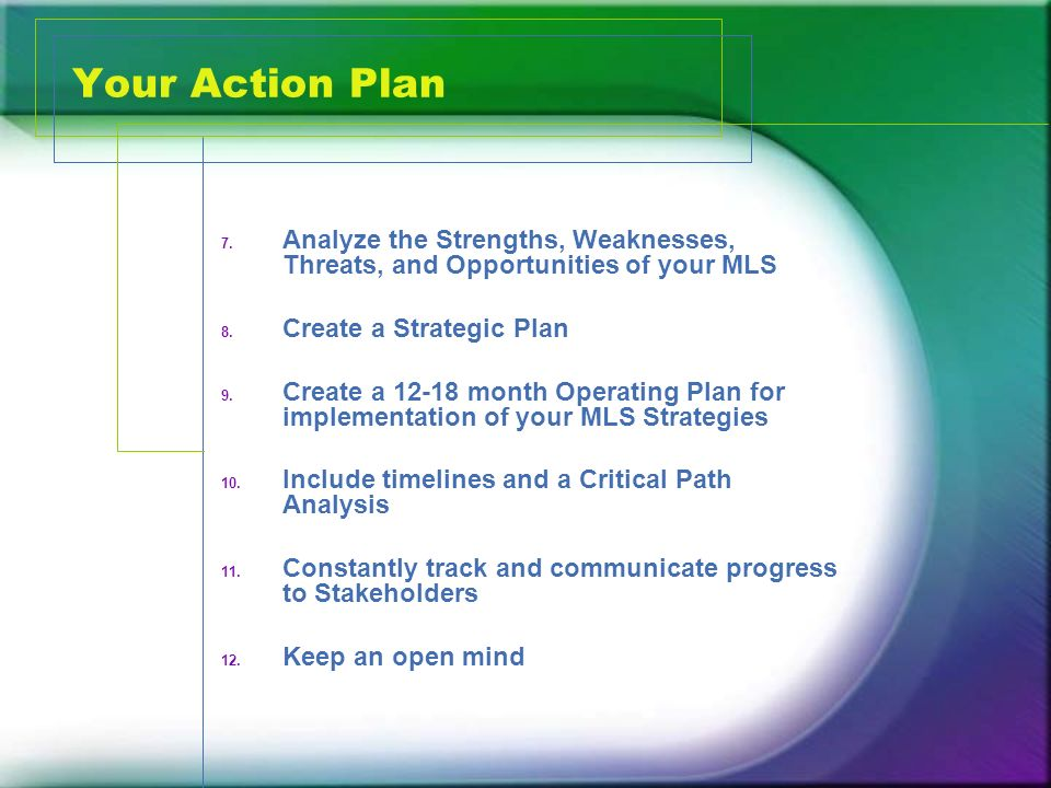 Your Action Plan 7. Analyze the Strengths, Weaknesses, Threats, and Opportunities of your MLS 8.