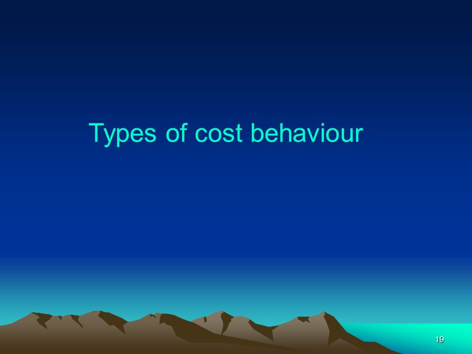 19 Types of cost behaviour