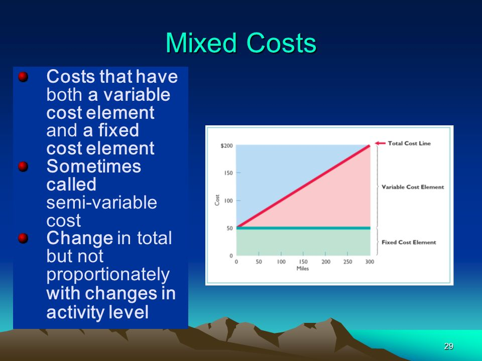 29 Costs that have both a variable cost element and a fixed cost element Sometimes called semi-variable cost Change in total but not proportionately w
