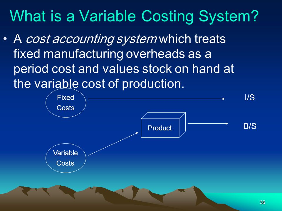 35 What is a Variable Costing System? A cost accounting system which treats fixed manufacturing overheads as a period cost and values stock on hand at