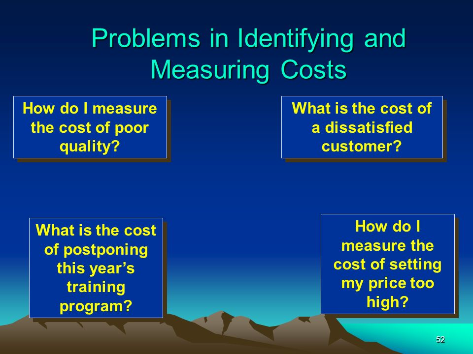 52 Problems in Identifying and Measuring Costs What is the cost of a dissatisfied customer? How do I measure the cost of setting my price too high? Ho