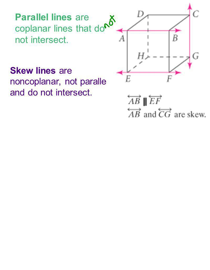 Parallel lines are coplanar lines that do not intersect. Skew lines are noncoplanar, not parallel and do not intersect.