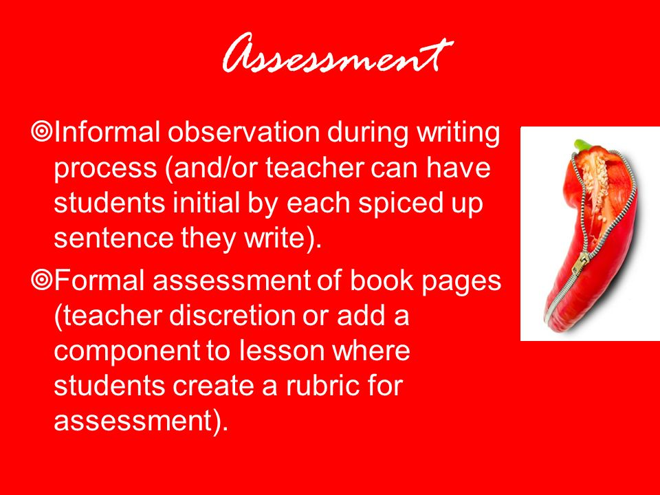 Assessment Informal observation during writing process (and/or teacher can have students initial by each spiced up sentence they write).
