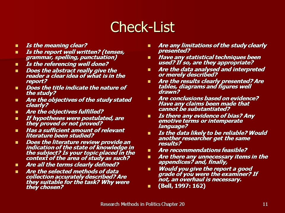 Research Methods in Politics Chapter 2011 Check-List Is the meaning clear.