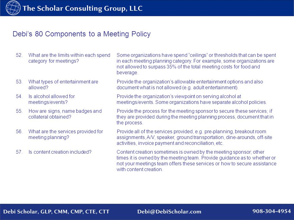 Debis 80 Components to a Meeting Policy 52.What are the limits within each spend category for meetings? Some organizations have spend ceilings or thre