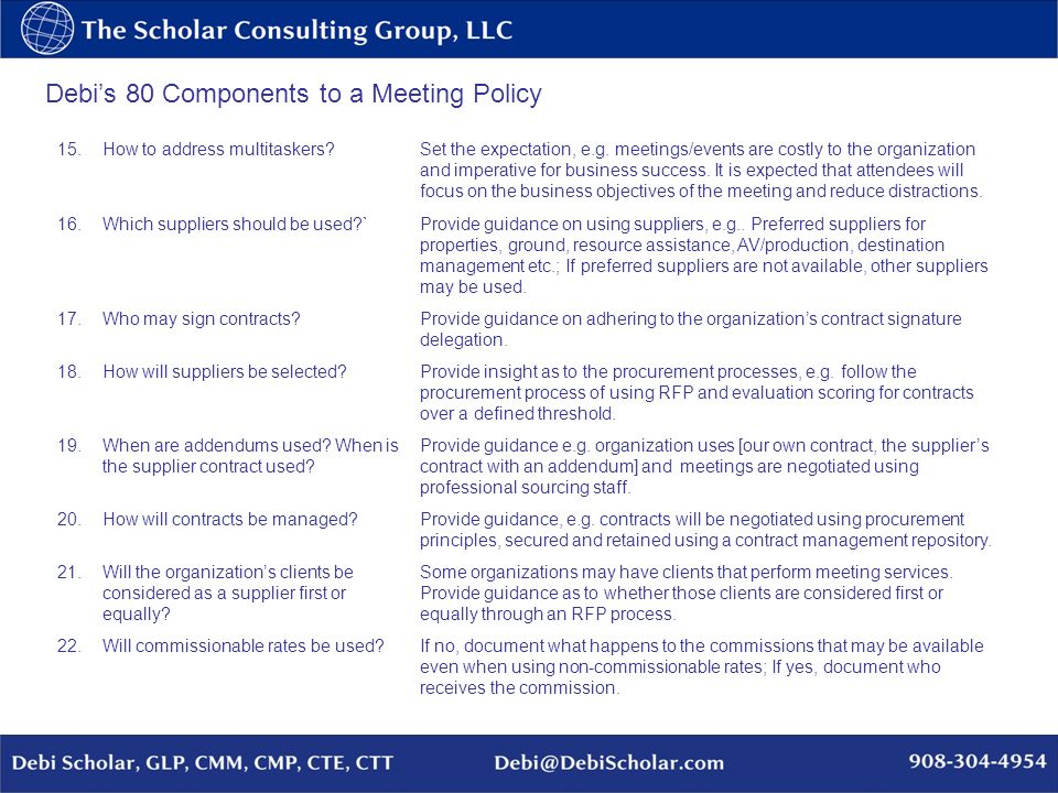 Debis 80 Components to a Meeting Policy 23.Does the organization consider supplier diversity.