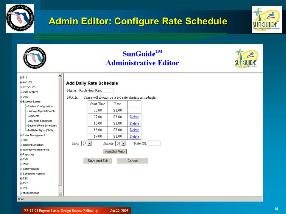 Jan 29, 2008R3.1 I-95 Express Lanes Design Review Follow-up 14 Admin Editor: Configure Rate Schedule