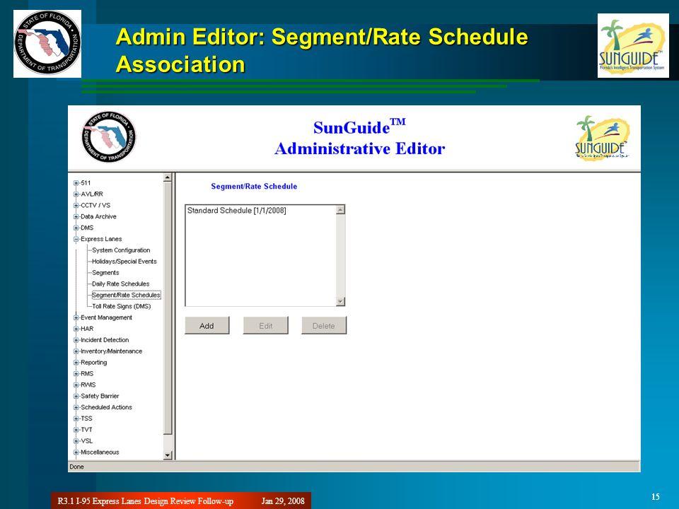 Jan 29, 2008R3.1 I-95 Express Lanes Design Review Follow-up 15 Admin Editor: Segment/Rate Schedule Association