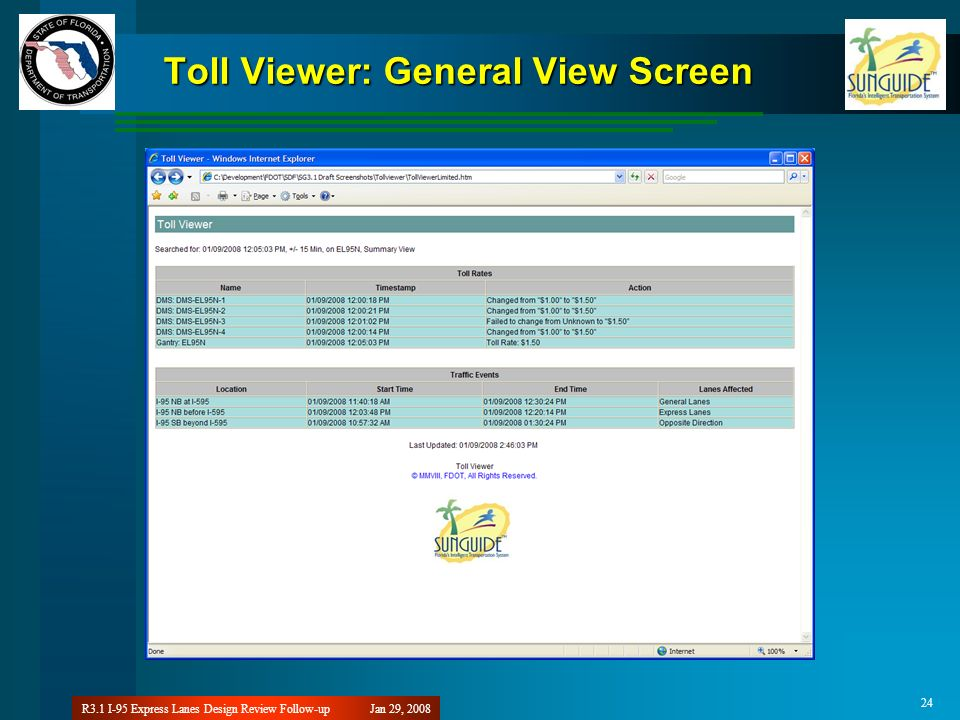 Jan 29, 2008R3.1 I-95 Express Lanes Design Review Follow-up 24 Toll Viewer: General View Screen