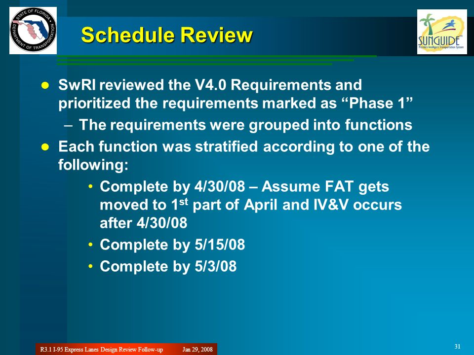 Jan 29, 2008R3.1 I-95 Express Lanes Design Review Follow-up 31 Schedule Review SwRI reviewed the V4.0 Requirements and prioritized the requirements ma