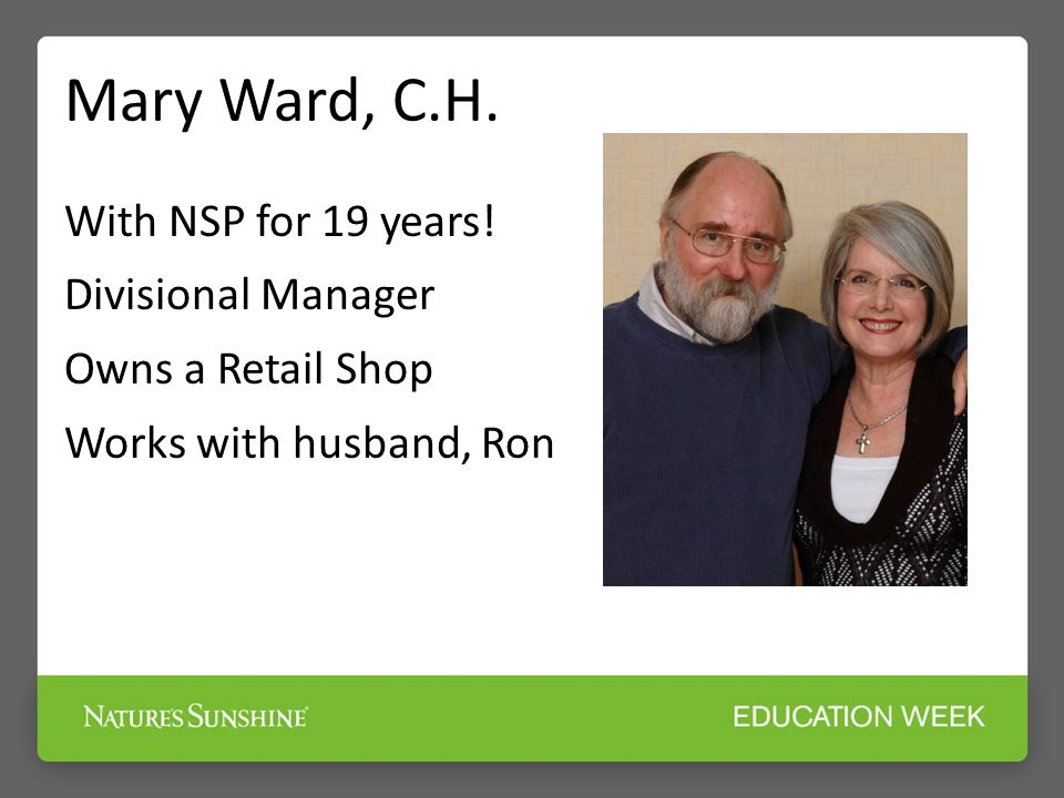 Mary Ward, C.H. With NSP for 19 years.