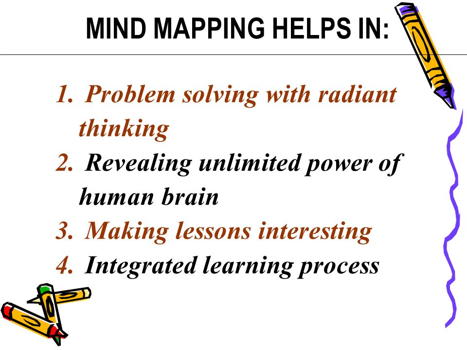 1. Problem solving with radiant thinking 2. Revealing unlimited power of human brain 3. Making lessons interesting 4. Integrated learning process MIND