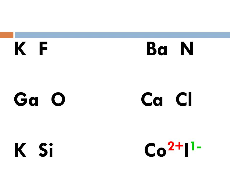K F Ba N Ga O Ca Cl K Si Co I You dont know about transition metals.