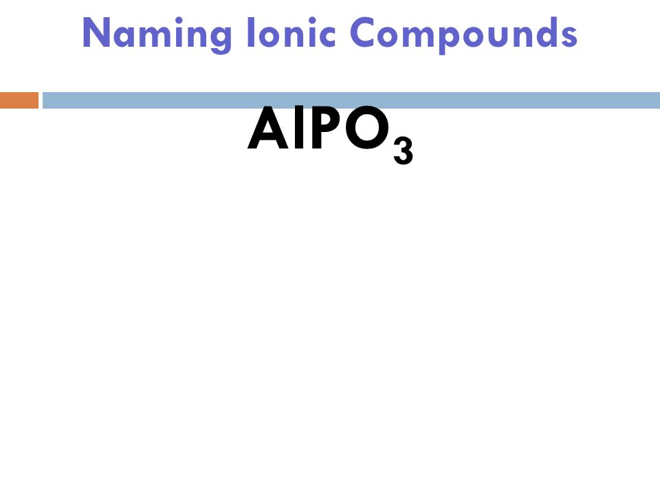 Naming Ionic Compounds BaCO 3 Barium Carbonate
